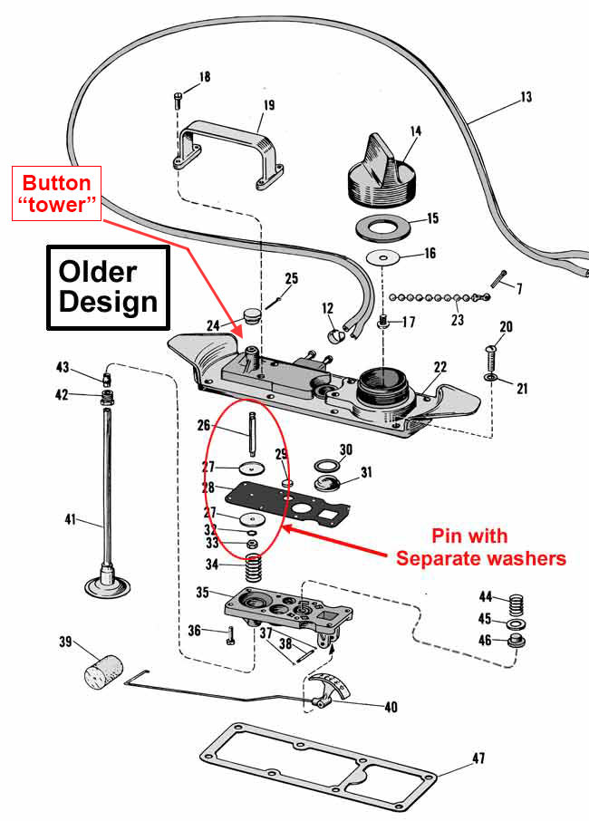 johnson  and evinrude fuel system and pressure tank parts